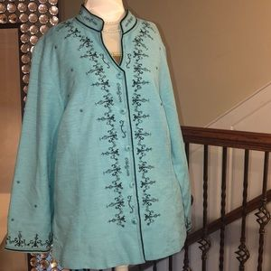 Silk Land Woman Button Up Embroidered Top